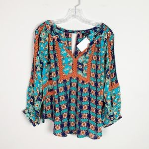 Tolani | silk boho print 3/4 sleeve v neck blouse